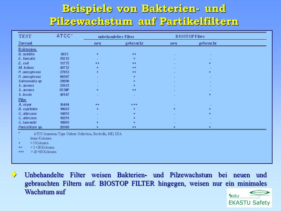Beispiele von Bakterien- und Pilzewachstum auf Partikelfiltern Unbehandelte Unbehandelte Filter weisen Bakterien- und Pilzewachstum bei neuen und gebrauchten Filtern auf.