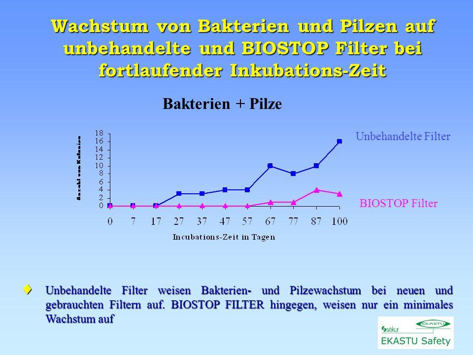 Unbehandelte Filter BIOSTOP Filter Wachstum von Bakterien und Pilzen auf unbehandelte und BIOSTOP Filter bei fortlaufender Inkubations-Zeit Bakterien + Pilze Unbehandelte Filter weisen Bakterien- und Pilzewachstum bei neuen und gebrauchten Filtern auf.
