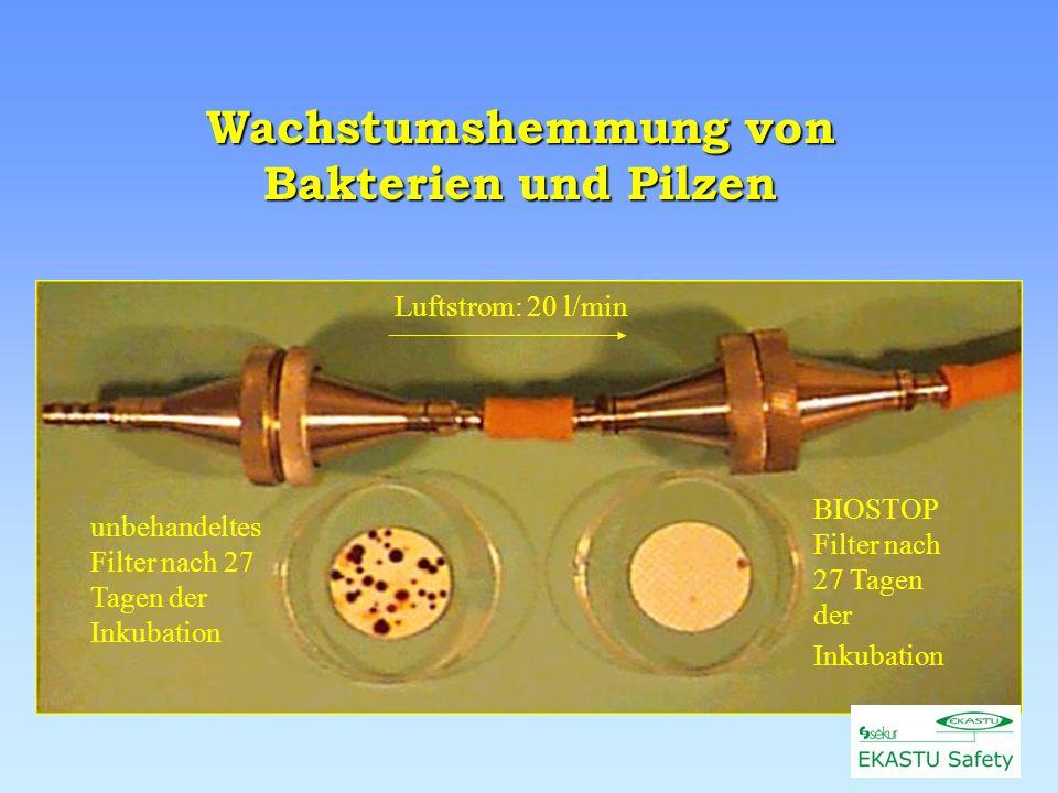 Wachstumshemmung von Bakterien und Pilzen Luftstrom: 20 l/min BIOSTOP Filter nach 27 Tagen der Inkubation unbehandeltes Filter nach 27 Tagen der Inkubation