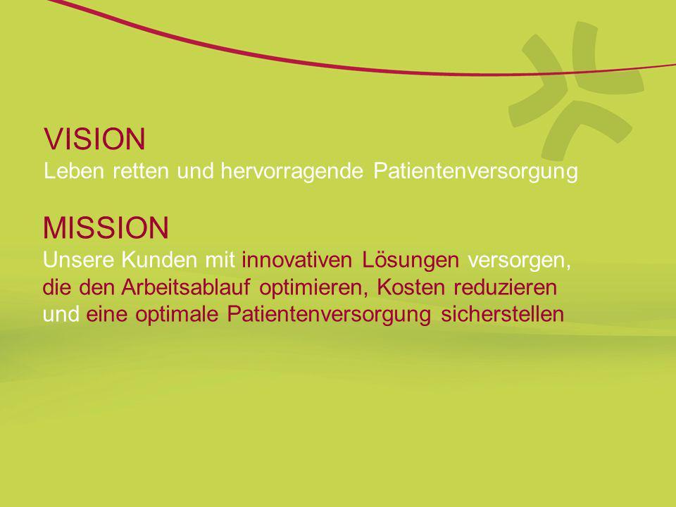 VISION Leben retten und hervorragende Patientenversorgung MISSION Unsere Kunden mit innovativen Lösungen versorgen, die den Arbeitsablauf optimieren,
