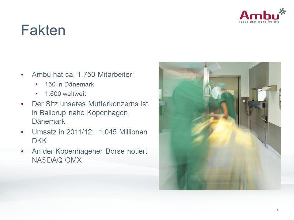 4 Fakten Ambu hat ca. 1.750 Mitarbeiter: 150 in Dänemark 1.600 weltweit Der Sitz unseres Mutterkonzerns ist in Ballerup nahe Kopenhagen, Dänemark Umsa