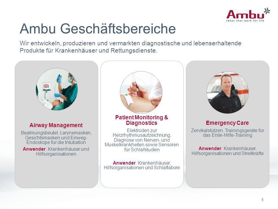 5 Ambu Geschäftsbereiche Airway Management Beatmungsbeutel, Larynxmasken, Gesichtsmasken und Einweg- Endoskope für die Intubation Anwender: Krankenhäu