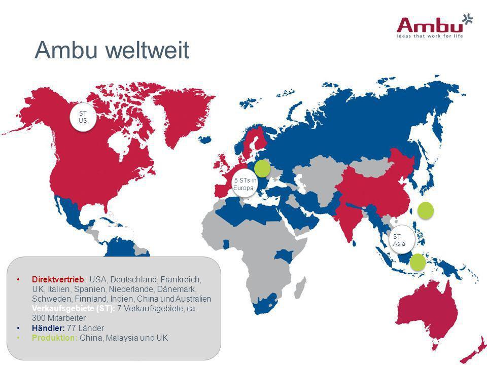6 Ambu weltweit ST US 5 STs in Europa ST Asia Direktvertrieb: USA, Deutschland, Frankreich, UK, Italien, Spanien, Niederlande, Dänemark, Schweden, Fin