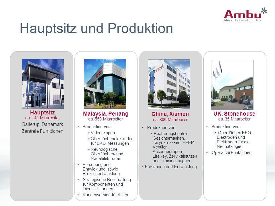 7 Hauptsitz und Produktion Malaysia, Penang ca. 550 Mitarbeiter Produktion von: Videoskopen Oberflächenelektroden für EKG-Messungen Neurologische Ober