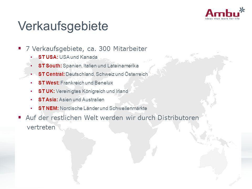 Verkaufsgebiete 7 Verkaufsgebiete, ca. 300 Mitarbeiter ST USA: USA und Kanada ST South: Spanien, Italien und Lateinamerika ST Central: Deutschland, Sc
