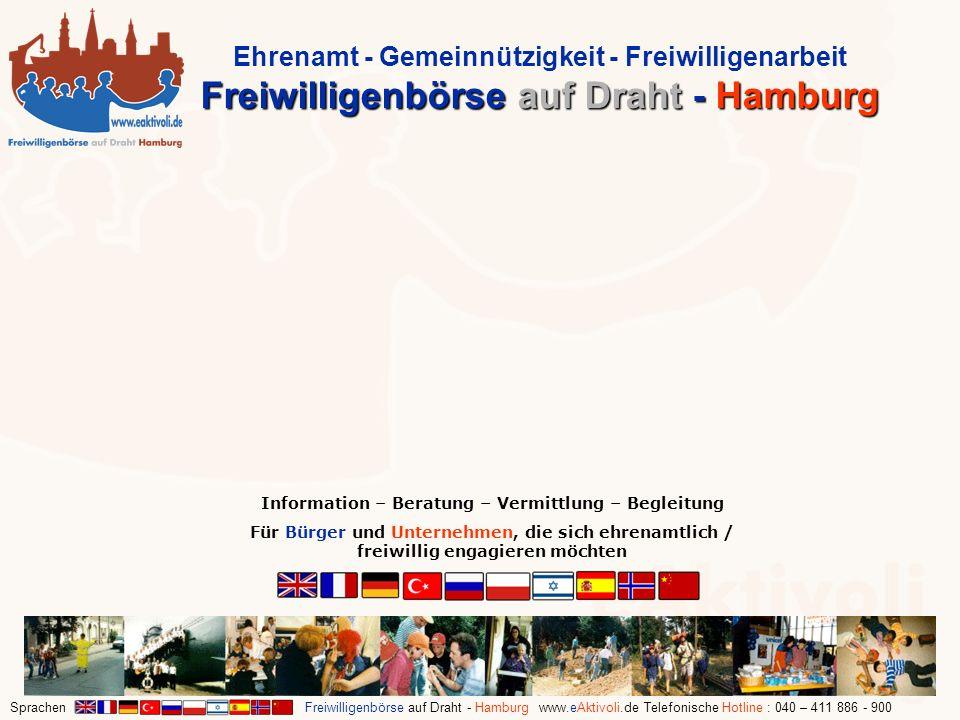Sprachen Freiwilligenbörse auf Draht - Hamburg www.eAktivoli.de Telefonische Hotline : 040 – 411 886 - 900 Information – Beratung – Vermittlung – Begl