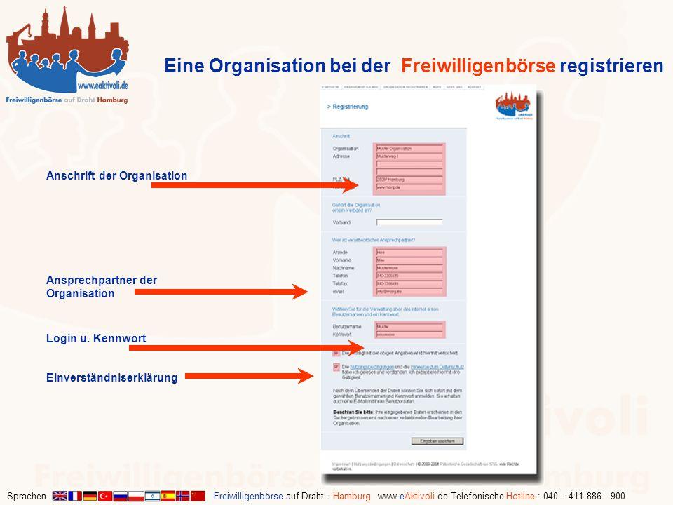Sprachen Freiwilligenbörse auf Draht - Hamburg www.eAktivoli.de Telefonische Hotline : 040 – 411 886 - 900 Anschrift der Organisation Eine Organisatio