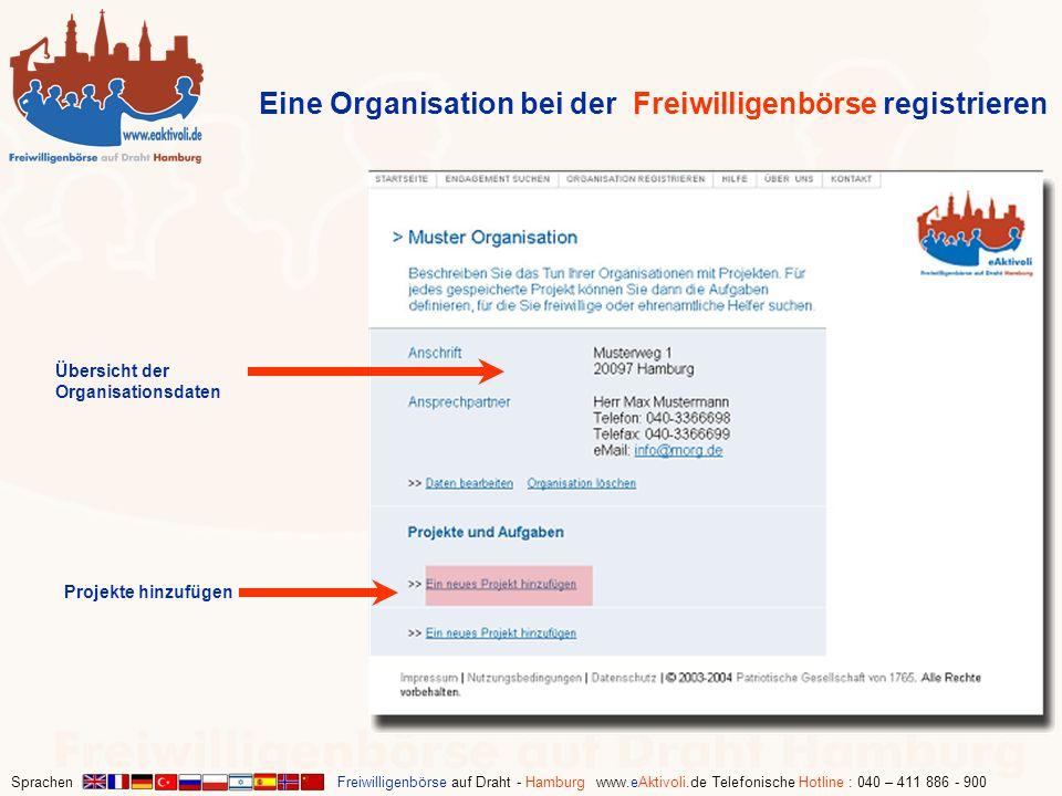 Sprachen Freiwilligenbörse auf Draht - Hamburg www.eAktivoli.de Telefonische Hotline : 040 – 411 886 - 900 Übersicht der Organisationsdaten Eine Organ