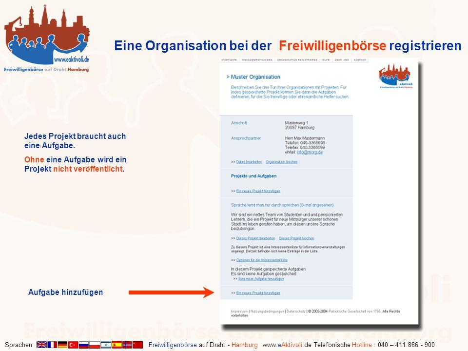 Sprachen Freiwilligenbörse auf Draht - Hamburg www.eAktivoli.de Telefonische Hotline : 040 – 411 886 - 900 Eine Organisation bei der Freiwilligenbörse