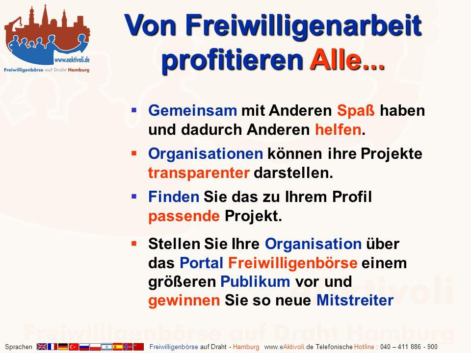 Sprachen Freiwilligenbörse auf Draht - Hamburg www.eAktivoli.de Telefonische Hotline : 040 – 411 886 - 900 Von Freiwilligenarbeit profitieren Alle...