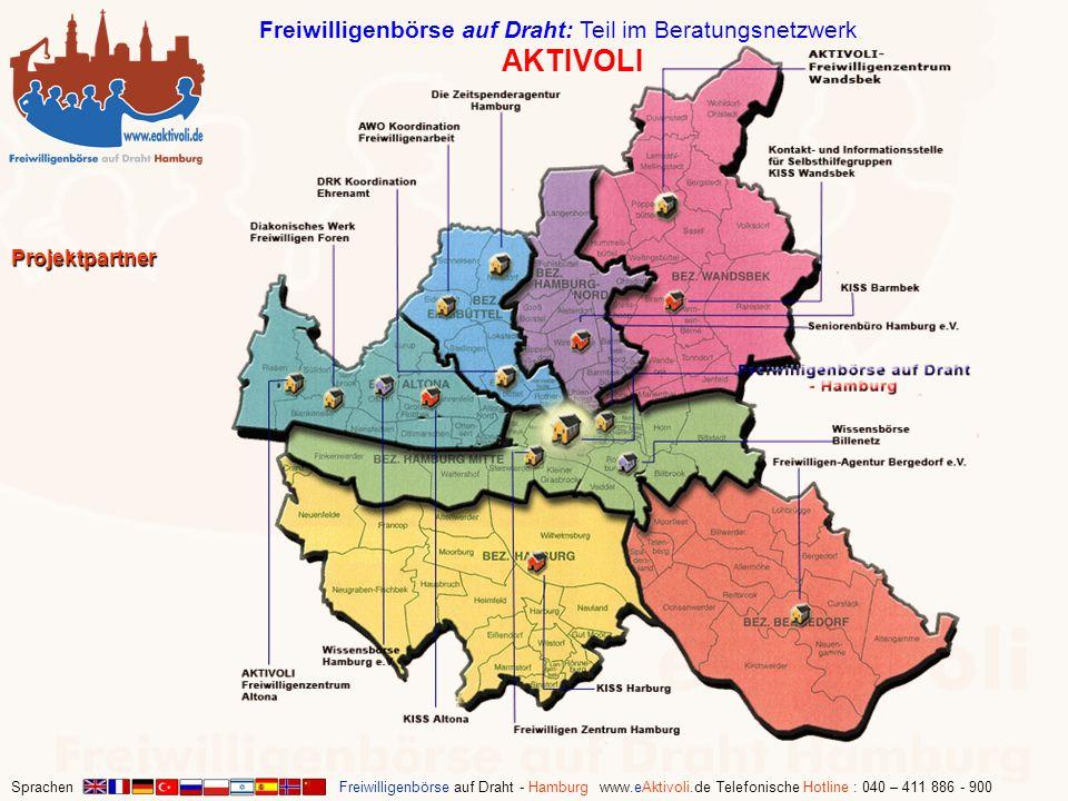 Sprachen Freiwilligenbörse auf Draht - Hamburg www.eAktivoli.de Telefonische Hotline : 040 – 411 886 - 900 Projektpartner Freiwilligenbörse auf Draht:
