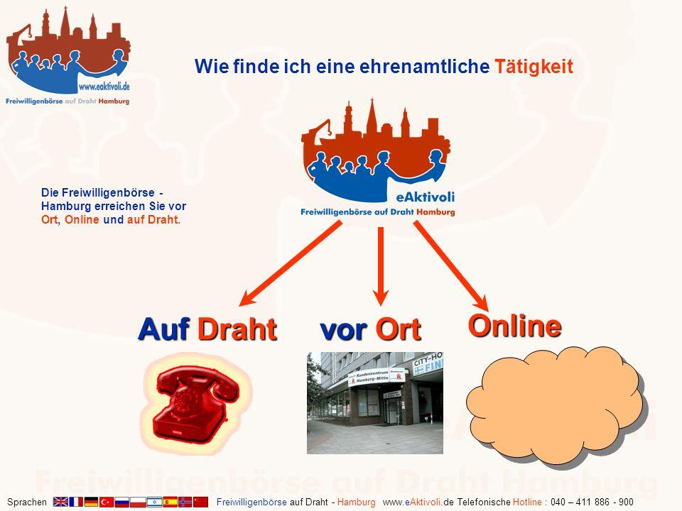 Sprachen Freiwilligenbörse auf Draht - Hamburg www.eAktivoli.de Telefonische Hotline : 040 – 411 886 - 900 Wie finde ich eine ehrenamtliche Tätigkeit