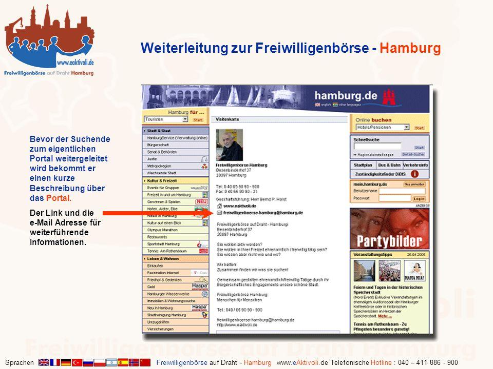 Sprachen Freiwilligenbörse auf Draht - Hamburg www.eAktivoli.de Telefonische Hotline : 040 – 411 886 - 900 Weiterleitung zur Freiwilligenbörse - Hambu