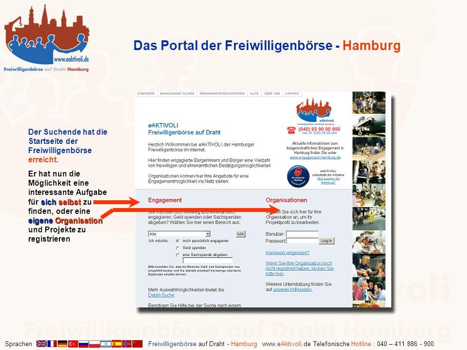 Sprachen Freiwilligenbörse auf Draht - Hamburg www.eAktivoli.de Telefonische Hotline : 040 – 411 886 - 900 Der Suchende hat die Startseite der Freiwil