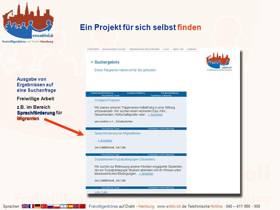 Sprachen Freiwilligenbörse auf Draht - Hamburg www.eAktivoli.de Telefonische Hotline : 040 – 411 886 - 900 Ein Projekt für sich selbst finden Ausgabe