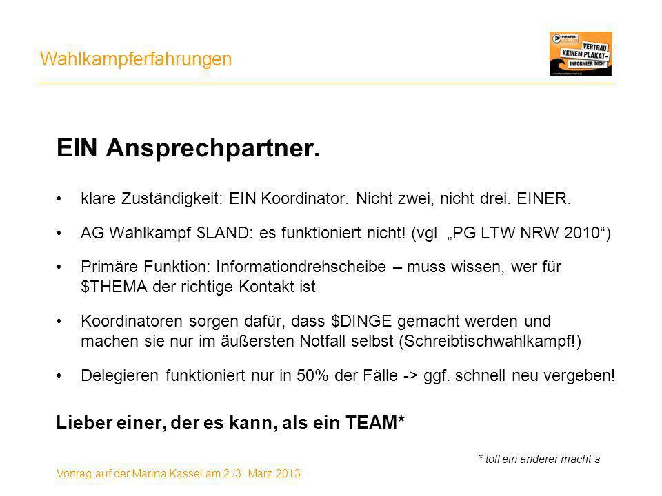 Wahlkampferfahrungen Vortrag auf der Marina Kassel am 2./3.