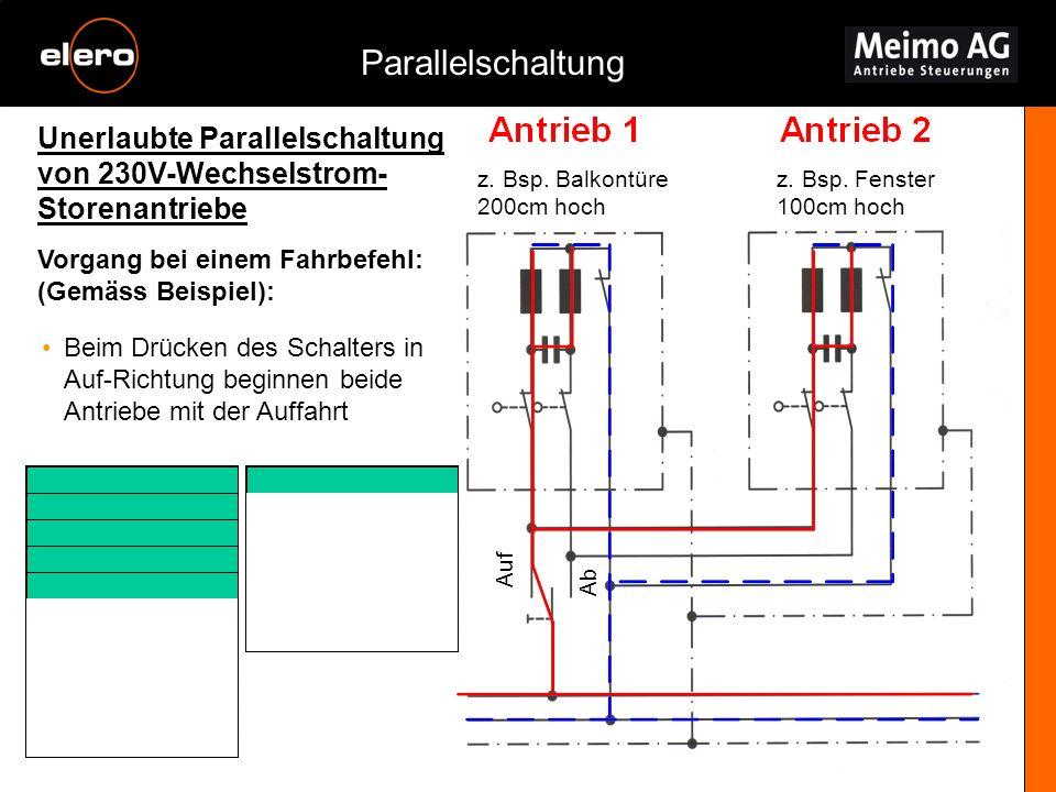 Unerlaubte Parallelschaltung von 230V-Wechselstrom- Storenantriebe Parallelschaltung Vorgang bei einem Fahrbefehl: (Gemäss Beispiel): z. Bsp. Balkontü