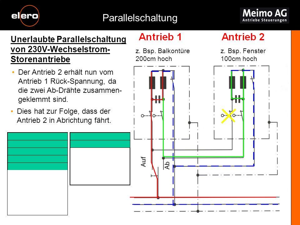Unerlaubte Parallelschaltung von 230V-Wechselstrom- Storenantriebe Parallelschaltung z. Bsp. Balkontüre 200cm hoch z. Bsp. Fenster 100cm hoch Der Antr