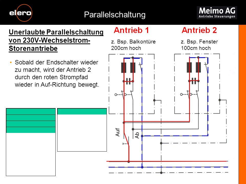 Unerlaubte Parallelschaltung von 230V-Wechselstrom- Storenantriebe Parallelschaltung z. Bsp. Balkontüre 200cm hoch z. Bsp. Fenster 100cm hoch Sobald d