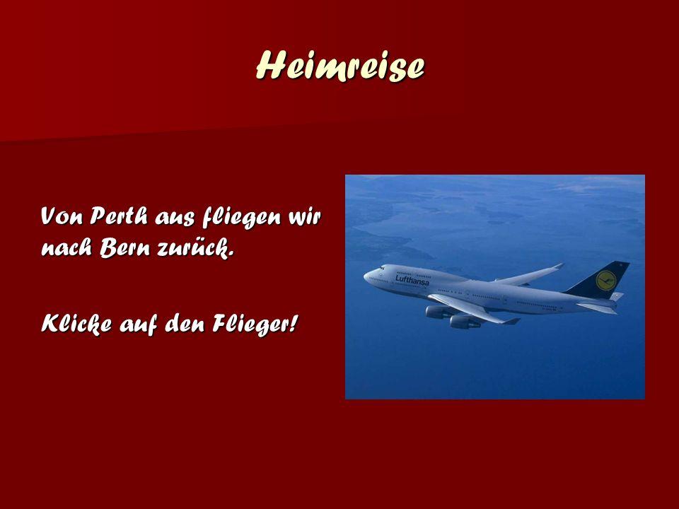 Heimreise Von Perth aus fliegen wir nach Bern zurück. Klicke auf den Flieger!
