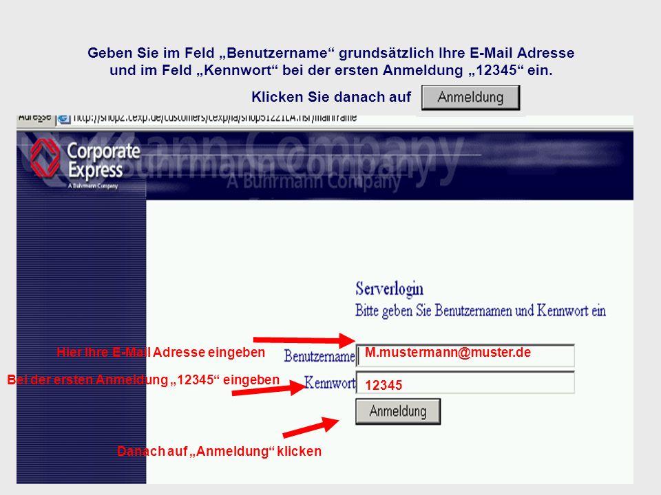 Geben Sie im Feld Benutzername grundsätzlich Ihre E-Mail Adresse und im Feld Kennwort bei der ersten Anmeldung 12345 ein. Klicken Sie danach auf M.mus