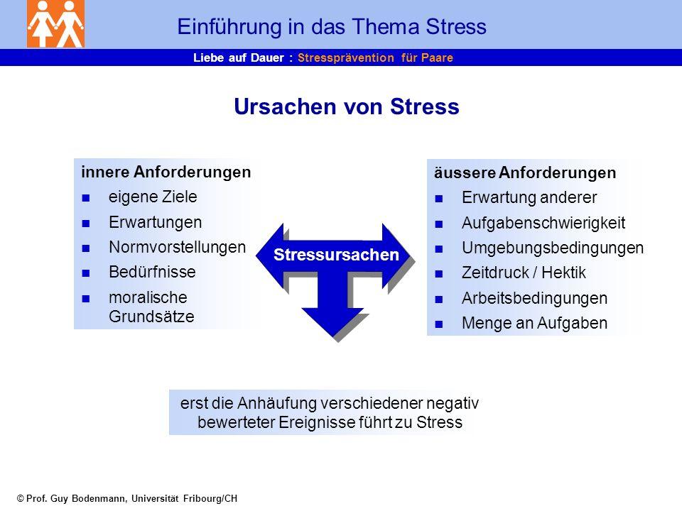Liebe auf Dauer : Stressprävention für Paare Was sind die Ursachen für meinen Stress im beruflichen und privaten Bereich.