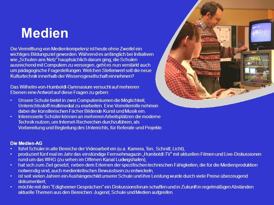 Medien Unsere Schule bietet in zwei Computerräumen die Möglichkeit, Unterrichtsstoff multimedial zu erarbeiten. Eine Vorreiterrolle nehmen dabei die k