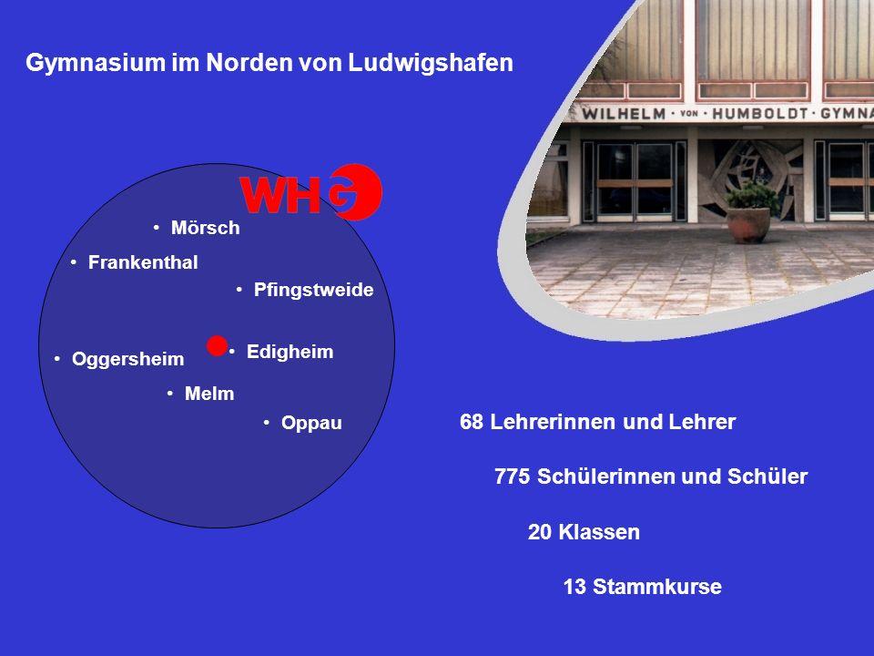 Gymnasium im Norden von Ludwigshafen 68 Lehrerinnen und Lehrer 775 Schülerinnen und Schüler 20 Klassen 13 Stammkurse Oppau Pfingstweide Edigheim Melm