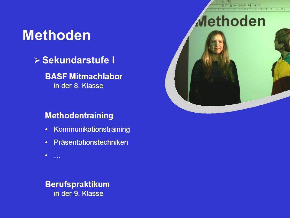 Methoden Sekundarstufe I BASF Mitmachlabor in der 8. Klasse Berufspraktikum in der 9. Klasse Methodentraining Kommunikationstraining Präsentationstech