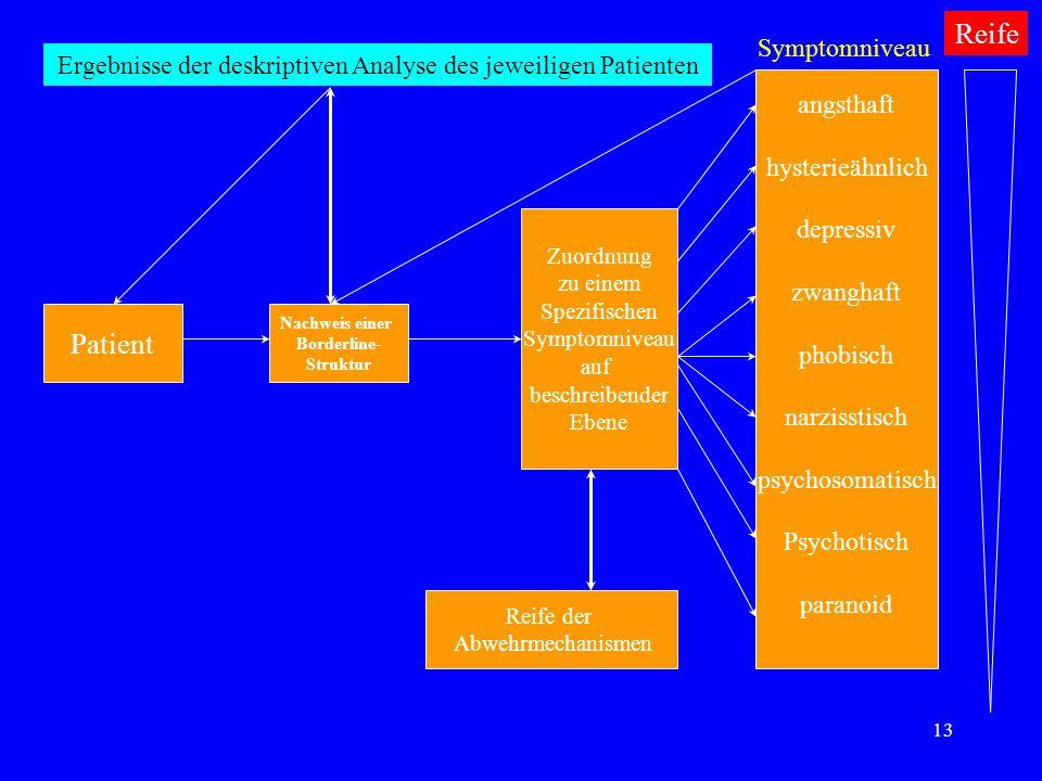 13 Patient Nachweis einer Borderline- Struktur Zuordnung zu einem Spezifischen Symptomniveau auf beschreibender Ebene angsthaft hysterieähnlich depres