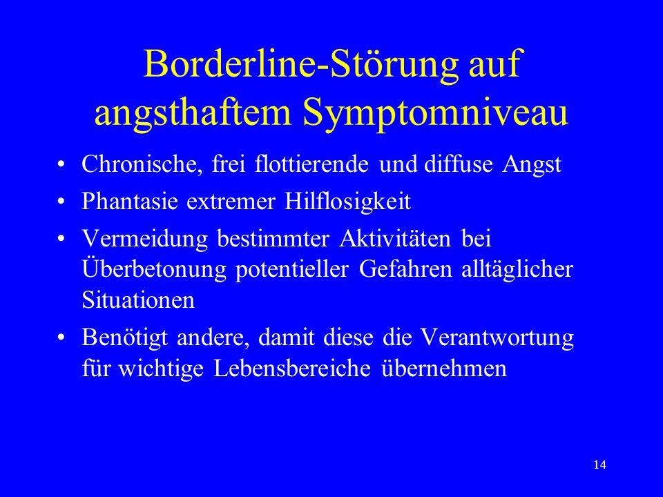 14 Borderline-Störung auf angsthaftem Symptomniveau Chronische, frei flottierende und diffuse Angst Phantasie extremer Hilflosigkeit Vermeidung bestim