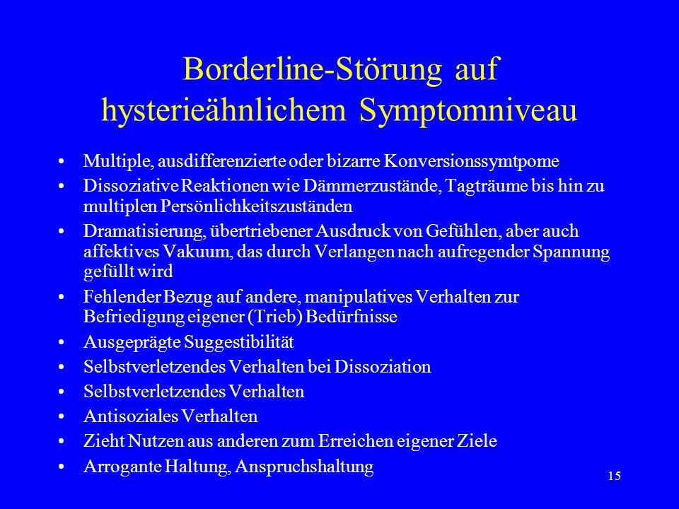 15 Borderline-Störung auf hysterieähnlichem Symptomniveau Multiple, ausdifferenzierte oder bizarre Konversionssymtpome Dissoziative Reaktionen wie Däm