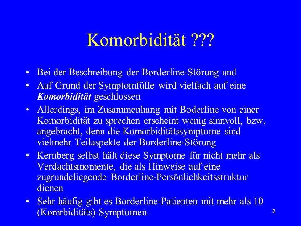 3 Das Diagnostische Interview für das Borderline-Syndrom (DIB) Ermöglicht die Abgrenzung der Borderline- Störung gegenüber anderen Krankheitsbildern Ermöglicht den Nachweises der Homogenität (Gleichheit einer Eigenschaft über die gesamte Ausdehnung eines Systems) der Borderline-Patienten auf struktureller Ebene Mittels DIB untersuchten Schwartz, Blazer et al.