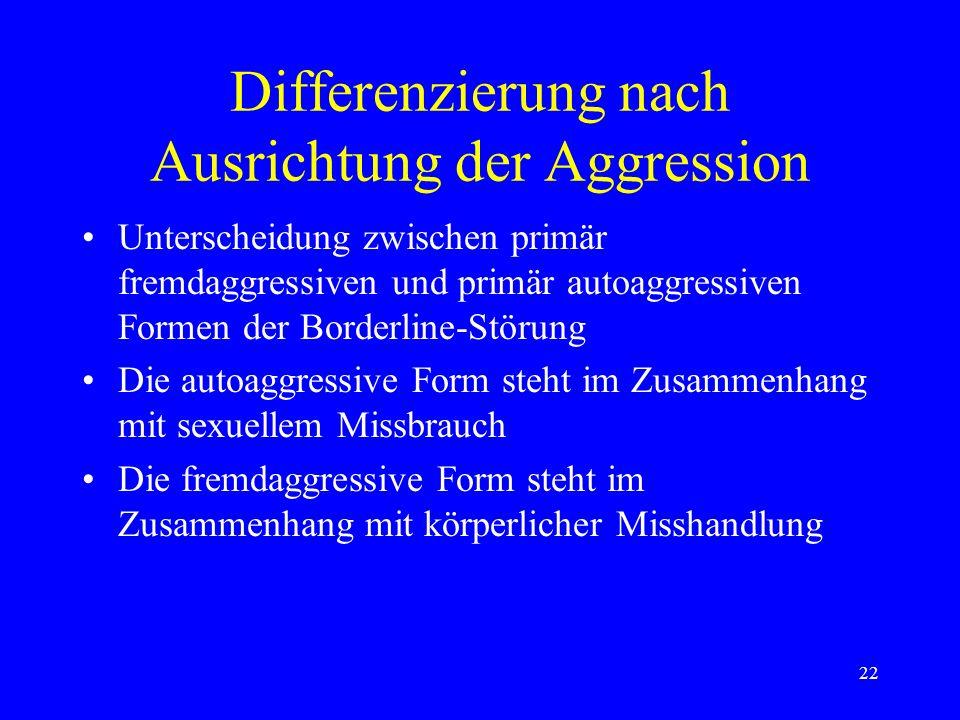 22 Differenzierung nach Ausrichtung der Aggression Unterscheidung zwischen primär fremdaggressiven und primär autoaggressiven Formen der Borderline-St