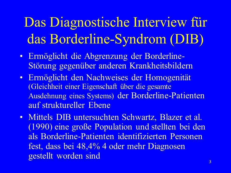 3 Das Diagnostische Interview für das Borderline-Syndrom (DIB) Ermöglicht die Abgrenzung der Borderline- Störung gegenüber anderen Krankheitsbildern E