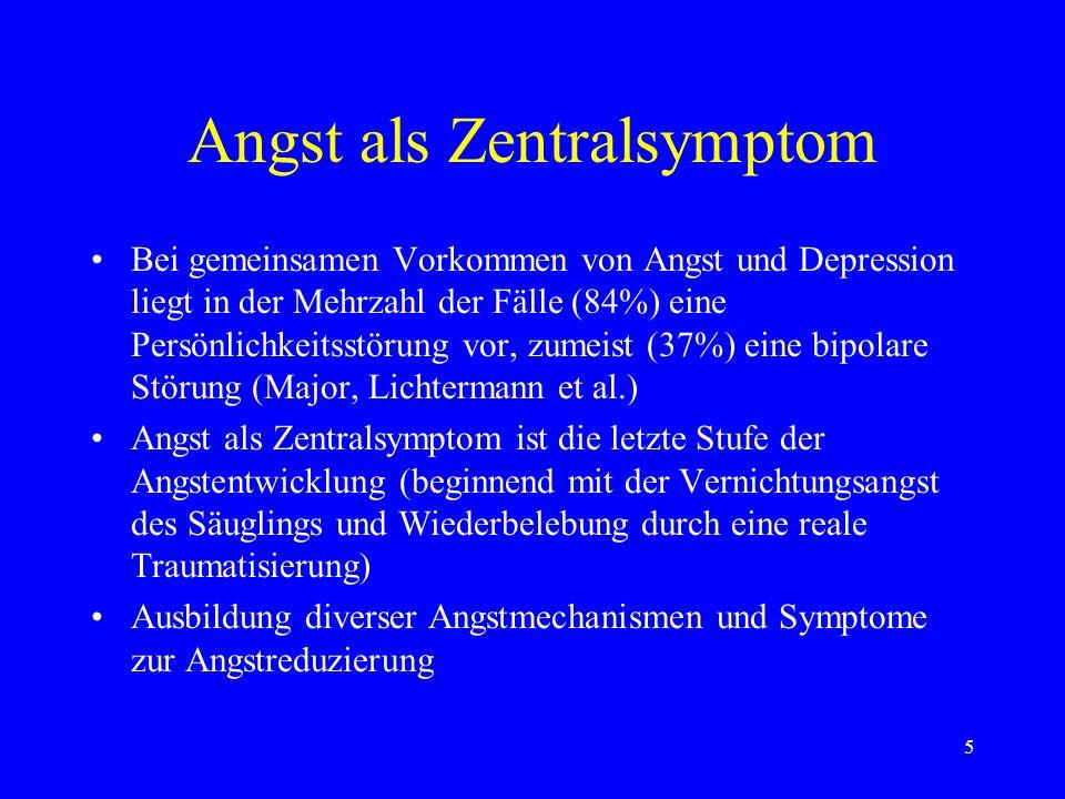 5 Angst als Zentralsymptom Bei gemeinsamen Vorkommen von Angst und Depression liegt in der Mehrzahl der Fälle (84%) eine Persönlichkeitsstörung vor, z