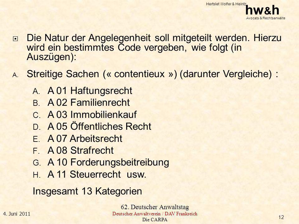 Hertslet Wolfer & Heintz hw & h Avocats & Rechtsanwälte 62. Deutscher Anwaltstag Deutscher Anwaltverein / DAV Frankreich Die CARPA 4. Juni 2011 Die Na