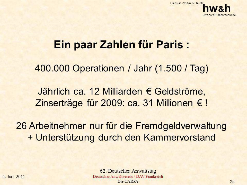 Hertslet Wolfer & Heintz hw & h Avocats & Rechtsanwälte 62. Deutscher Anwaltstag Deutscher Anwaltverein / DAV Frankreich Die CARPA 4. Juni 2011 Ein pa