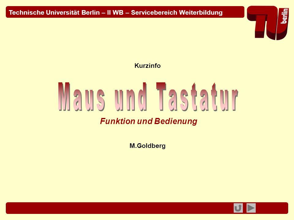 © 2009 - TU Berlin - II WB / M.Goldberg PC Maus- und Tastatur-Bedienung 2 Bedienung der Präsentation Bewegen Sie sich in der Präsentation durch Betätigen der Schaltflächen in der Fußzeile.