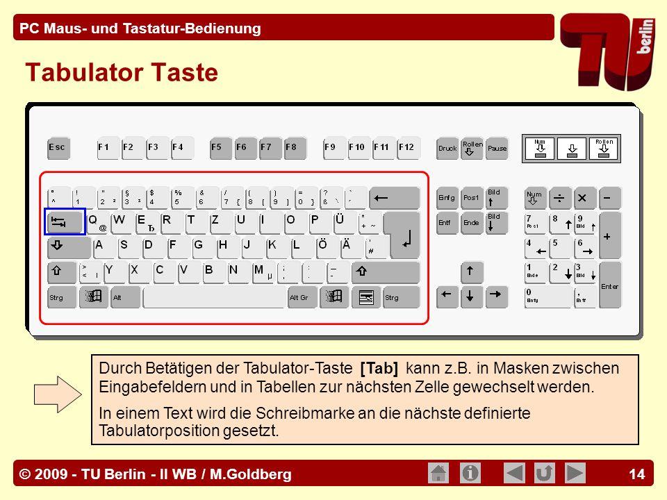 © 2009 - TU Berlin - II WB / M.Goldberg PC Maus- und Tastatur-Bedienung 14 Tabulator Taste Durch Betätigen der Tabulator-Taste [Tab] kann z.B. in Mask