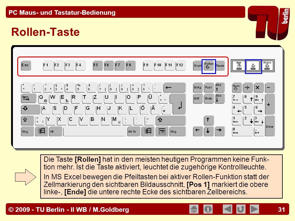 © 2009 - TU Berlin - II WB / M.Goldberg PC Maus- und Tastatur-Bedienung 31 Rollen-Taste Die Taste [Rollen] hat in den meisten heutigen Programmen kein