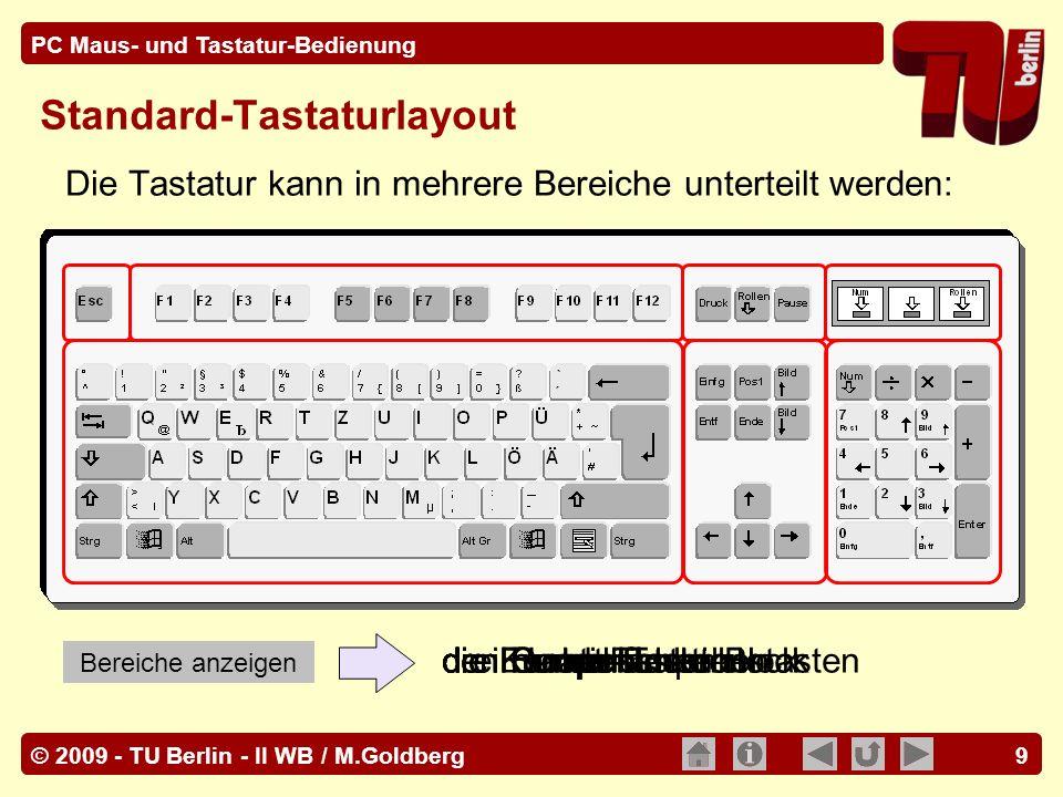 © 2009 - TU Berlin - II WB / M.Goldberg PC Maus- und Tastatur-Bedienung 10 Kleinbuchstaben, Zahlen und andere links unten auf einer Taste darge- stellte Zeichen werden durch einfaches Betätigen der entsprechenden Tasten eingegeben.