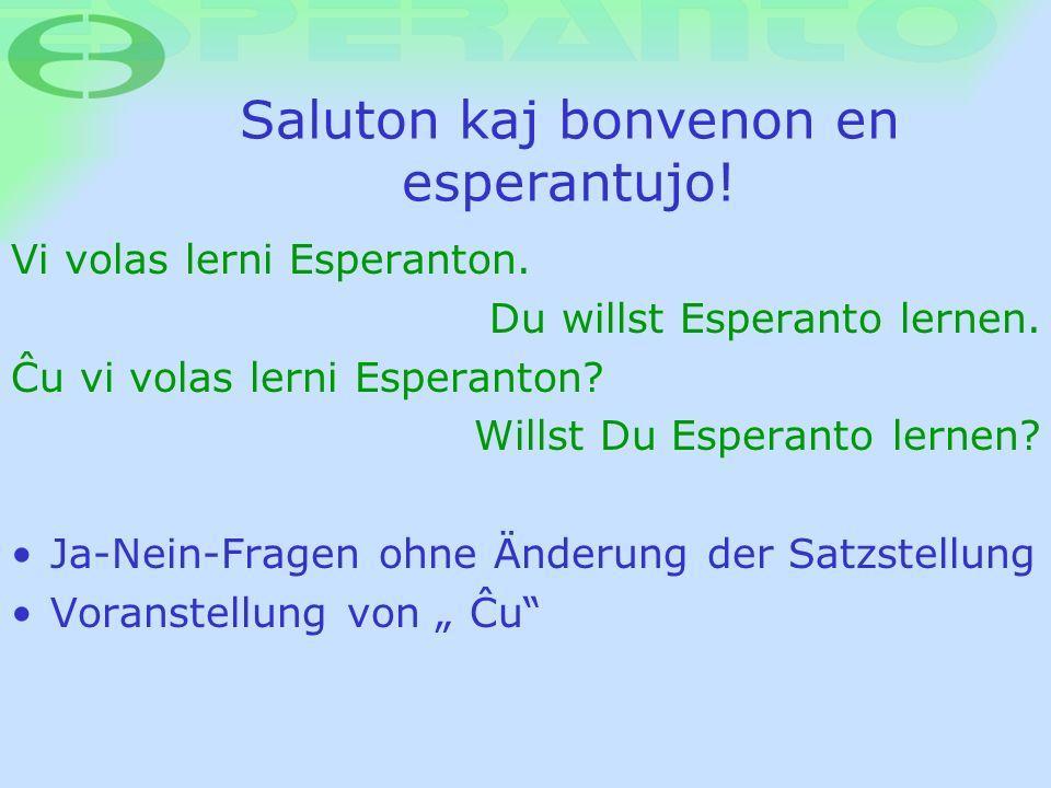 Saluton kaj bonvenon en esperantujo! Vi volas lerni Esperanton. Du willst Esperanto lernen. Æu vi volas lerni Esperanton? Willst Du Esperanto lernen?