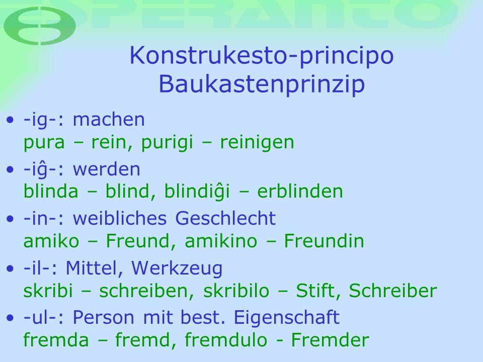 Konstrukesto-principo Baukastenprinzip -ig-: machen pura – rein, purigi – reinigen -iø-: werden blinda – blind, blindiøi – erblinden -in-: weibliches