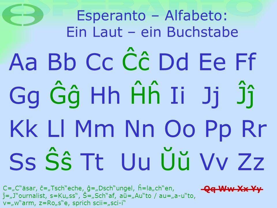 Esperanto – Alfabeto: Ein Laut – ein Buchstabe Aa Bb Cc Ææ Dd Ee Ff Gg Øø Hh ¦¶ Ii Jj ¬¼ Kk Ll Mm Nn Oo Pp Rr Ss Þþ Tt Uu Ýý Vv Zz Qq Ww Xx Yy C=Cäsar