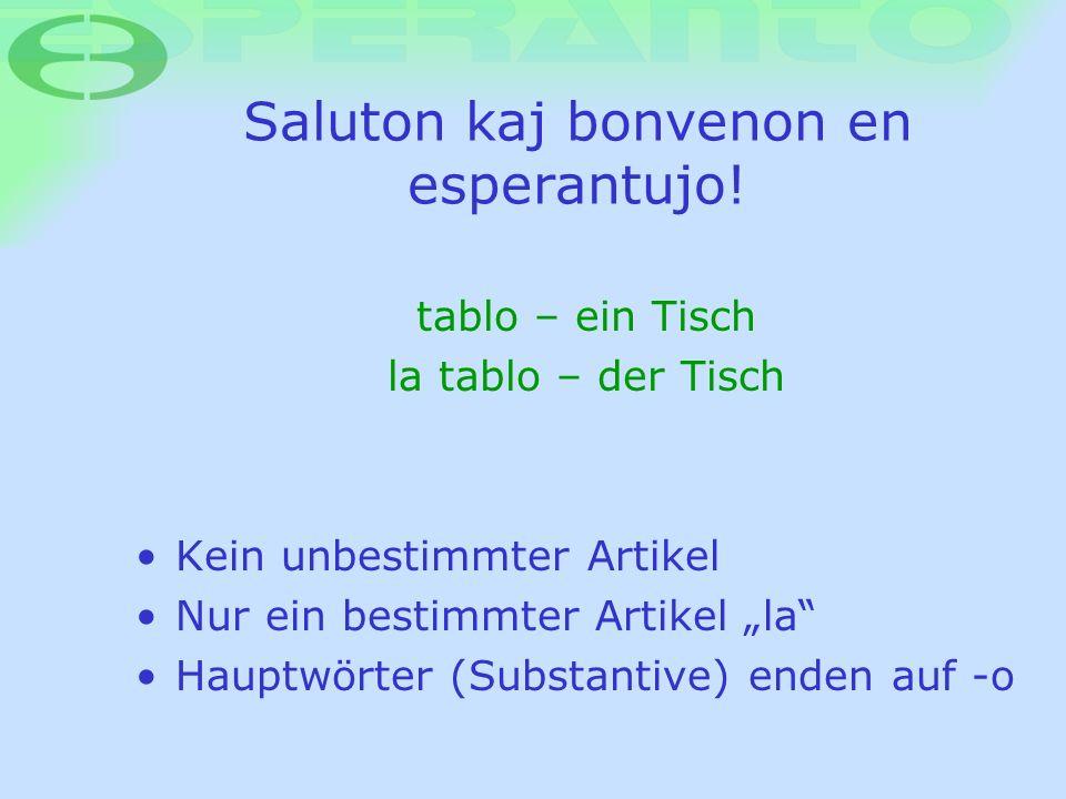 Saluton kaj bonvenon en esperantujo! Kein unbestimmter Artikel Nur ein bestimmter Artikel la Hauptwörter (Substantive) enden auf -o tablo – ein Tisch