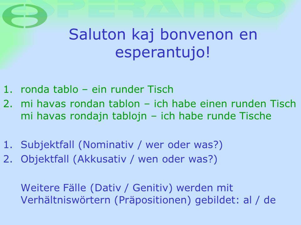 Saluton kaj bonvenon en esperantujo! 1. ronda tablo – ein runder Tisch 2. mi havas rondan tablon – ich habe einen runden Tisch mi havas rondajn tabloj