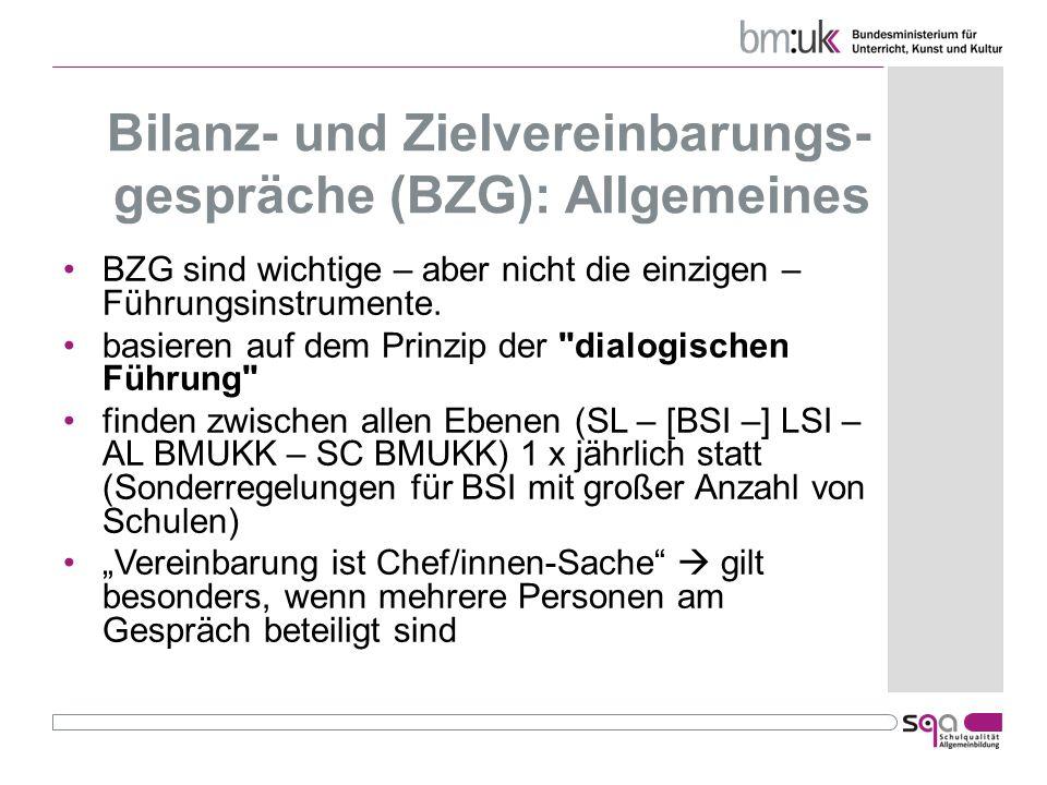 Bilanz- und Zielvereinbarungs- gespräche (BZG): Allgemeines BZG sind wichtige – aber nicht die einzigen – Führungsinstrumente. basieren auf dem Prinzi
