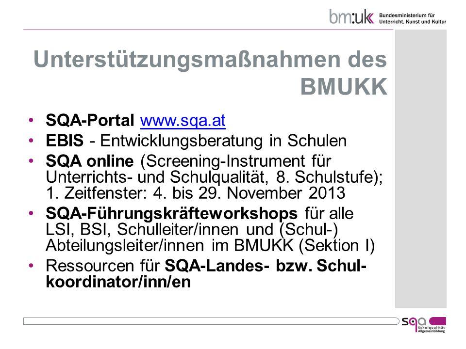 Unterstützungsmaßnahmen des BMUKK SQA-Portal www.sqa.atwww.sqa.at EBIS - Entwicklungsberatung in Schulen SQA online (Screening-Instrument für Unterric