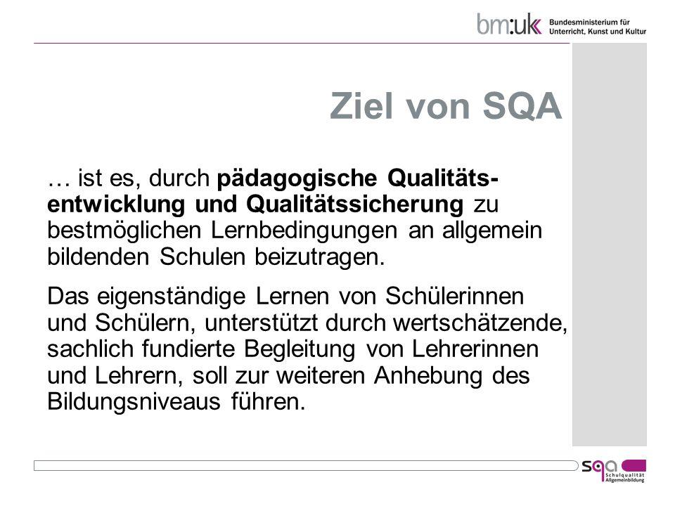 Ziel von SQA … ist es, durch pädagogische Qualitäts- entwicklung und Qualitätssicherung zu bestmöglichen Lernbedingungen an allgemein bildenden Schule